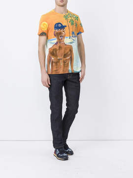 Moncler Jean philippe delhomme x painted beach scene t-shirt