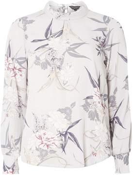 Dorothy Perkins Grey Floral High Neck Blouse