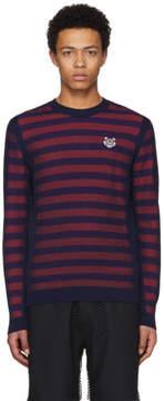 Kenzo Orange and Purple Striped Mesh Tiger Sweater