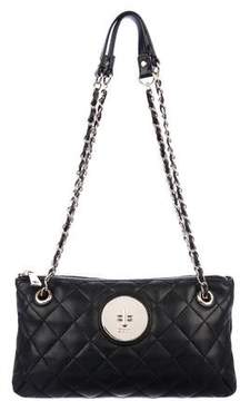 DKNY Quilted Leather Chain-Link Zip Shoulder Bag
