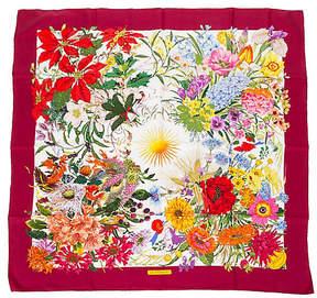 One Kings Lane Vintage Gucci Red Floral Silk Scarf