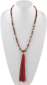 Barse Leather-Tasseled Agate Necklace