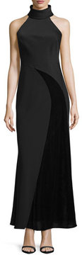 Camilla And Marc Sleeveless Crepe & Chiffon Gown, Black