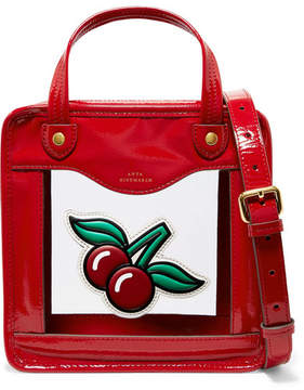 Anya Hindmarch Cherries Rainy Day Small Appliquéd Patent-leather And Pvc Tote - Red