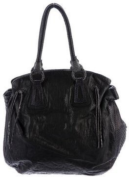 Carlos Falchi Python-Trimmed Leather Bag