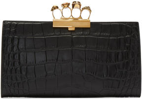 Alexander McQueen Black Croc Gold Knuckle Box Clutch