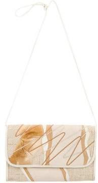 Carlos Falchi Karung & Straw Crossbody Bag