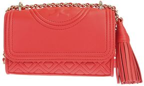 Tory Burch Leather Fleming Micro Shoulder Bag - RED - STYLE