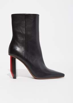 Vetements Reflector Heel Ankle Boots Black Matt Red