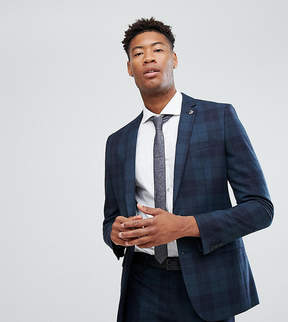 Farah Smart TALL Skinny Suit Jacket In Check With Square Hem