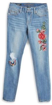Vigoss Girl's Embroidered Distressed Jeans