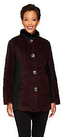 Bob Mackie Bob Mackie's Color-Block Herringbone Coat w/ Faux Fur Collar