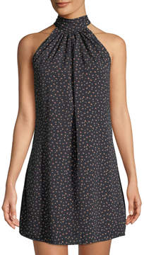 Bishop + Young Tie-Neck Dotted Mini Dress