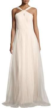 Donna Morgan Keyhole Halter-Neck Mesh Gown, Beige