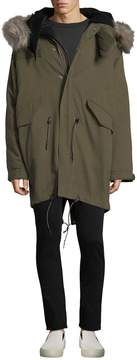 IRO Men's Loth Cotton Parka with Faux Fur Trim