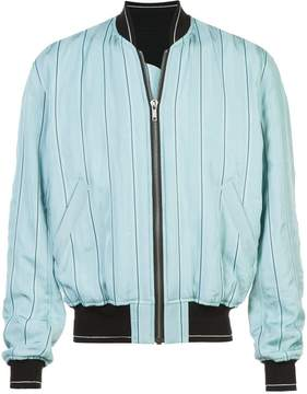 Haider Ackermann boxy striped bomber jacket