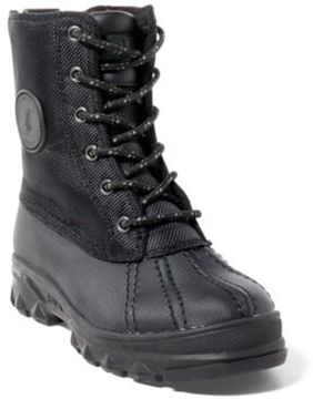 Ralph Lauren Roxbury Nylon-Leather Boot Black 13