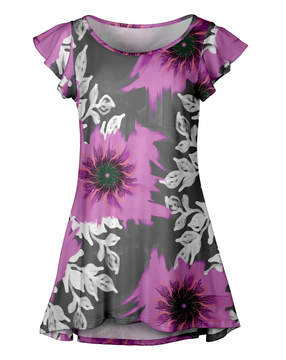 Lily Gray & Pink Floral Ruffle-Sleeve Tunic - Women & Plus