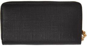 Alexander McQueen Black Lino Skull Continental Zip Around Wallet