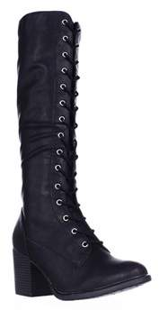American Rag Ar35 Lorah Lace Up Heeled Tall Boots, Black.