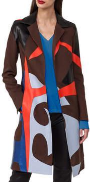Akris Patchwork Linen & Leather Coat Trench Coat