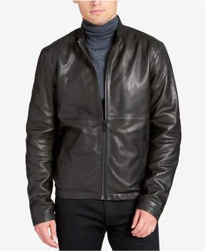 DKNY Men's Leather Racer Jacket