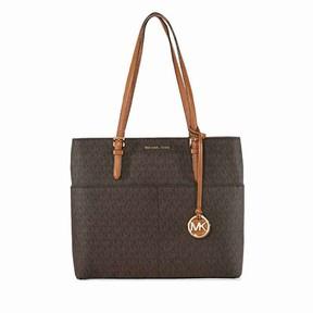 Michael Kors Women's Large Bedford Pocket Signature Tote Leather Shoulder Bag - Brown - BROWN - STYLE