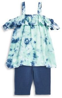 Splendid Baby Girl's Tie-Dye Cold Shoulder Top and Leggings Set
