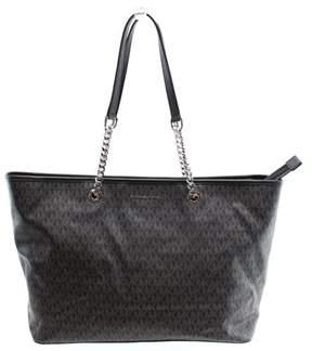 Michael Kors NEW Black PVC Logo Jet Set Travel Chain Tote Bag Purse - BLACK - STYLE