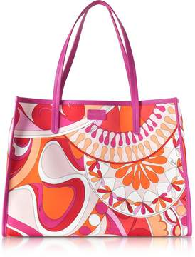 Emilio Pucci Orange and Fuchsia Printed Canvas Tote bag