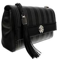 Roberto Cavalli Black Quilted Leather Large Shoulder Bag