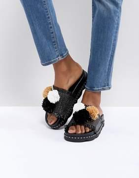 Sixty Seven SixtySeven Belle Black Raffia Pom Slide Sandals