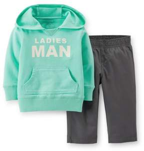 Carter's Baby Clothing Outfit Boys 2-pc Hooded Top & Pant Set - Mint/Grey Ladies Man