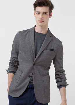 Mango Outlet Slim-fit micro houndstooth blazer