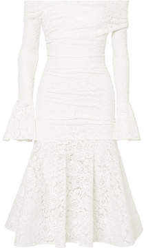 Caroline Constas Leda Off-the-shoulder Ruched Stretch-lace Midi Dress - White