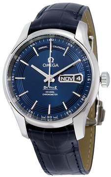 Omega De Ville Hour Vision Blue Dial Blue Leather Strap Men's Watch OM