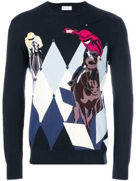 Ballantyne argyle and polo player knit sweater