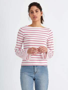Frank and Oak Breton-Stripe Bell-Sleeve Cotton Top in Carmine
