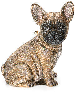 Judith Leiber Couture Pierre French Bulldog Crystal Clutch Bag, Champagne