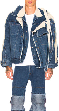 Y/Project Y Project Double Layered Denim Jacket with Sherpa Lining in Blue.