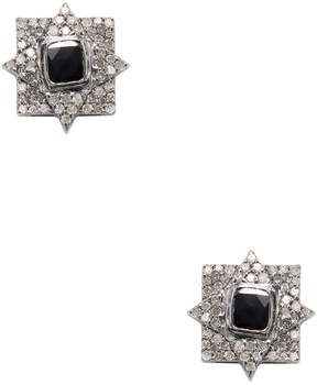 Artisan Women's Elegant 18K Gold & 1.08 Total Ct. Black & White Diamond Stud Earrings