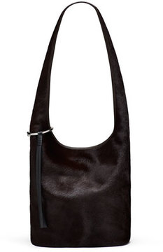 Elizabeth and James Finley Courier Cow Hair Hobo Bag, Chocolate