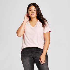 Ava & Viv Women's Plus Size V-Neck T-Shirt Light Pink with Silver Shine