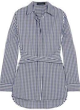 Cédric Charlier Gingham Cotton-blend Poplin Shirt - Blue