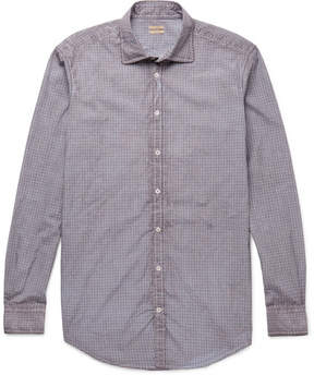 Massimo Alba Canary Watercolour-Dyed Checked Cotton-Poplin Shirt