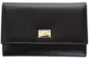 Dolce & Gabbana Leather Wallet With Logo Tag - BLACK - STYLE