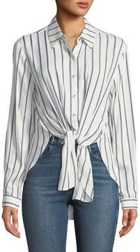 T Tahari Long-Sleeve Blouse w/ Metallic Stripes