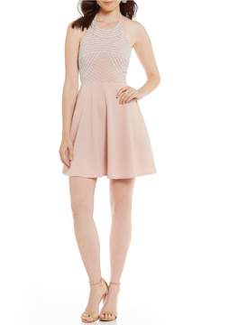 B. Darlin Stone-Embellished Fit-And-Flare Dress