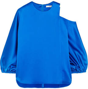 Tibi Celestia Cutout Satin Top - Bright blue