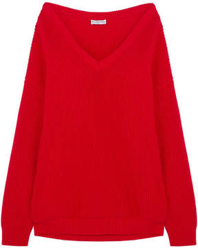 Balenciaga Oversized Ribbed Cotton-blend Sweater - Red
